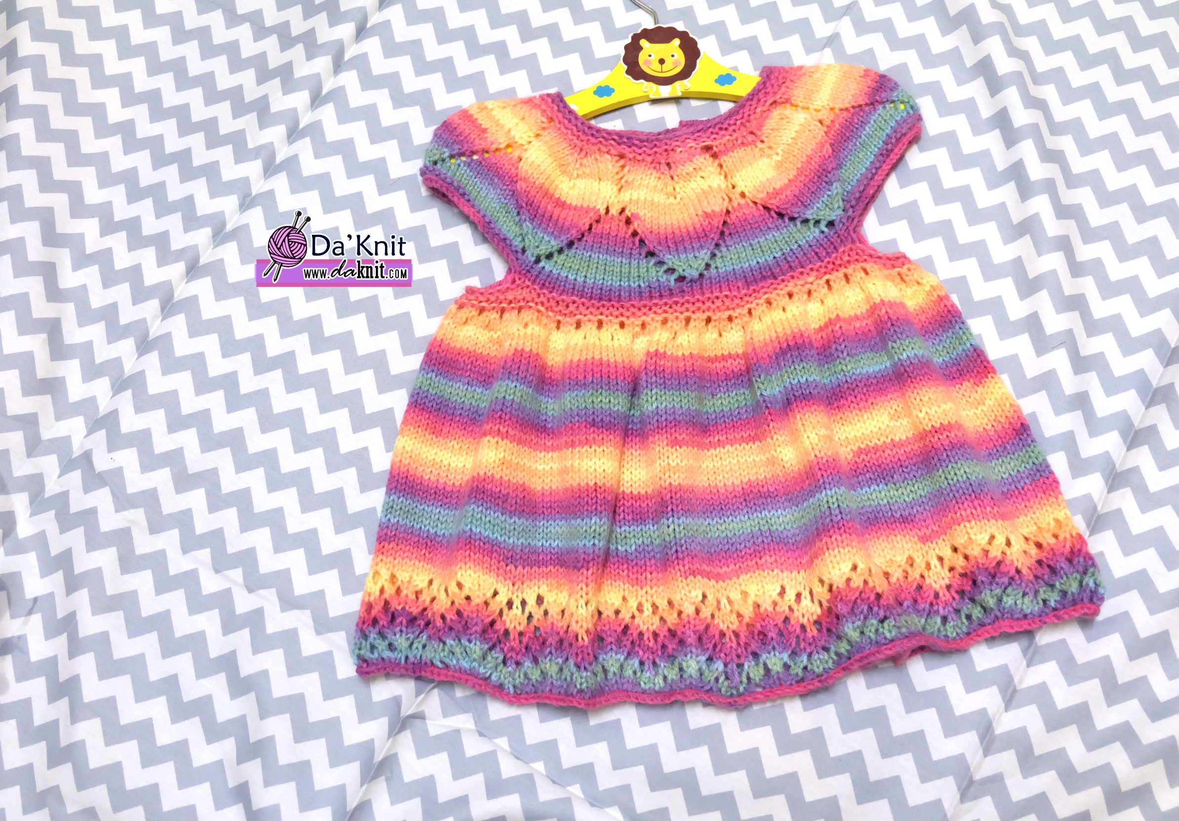Free Knitting Pattern: Baby Jewel Dress – Kelas Seni Mengait